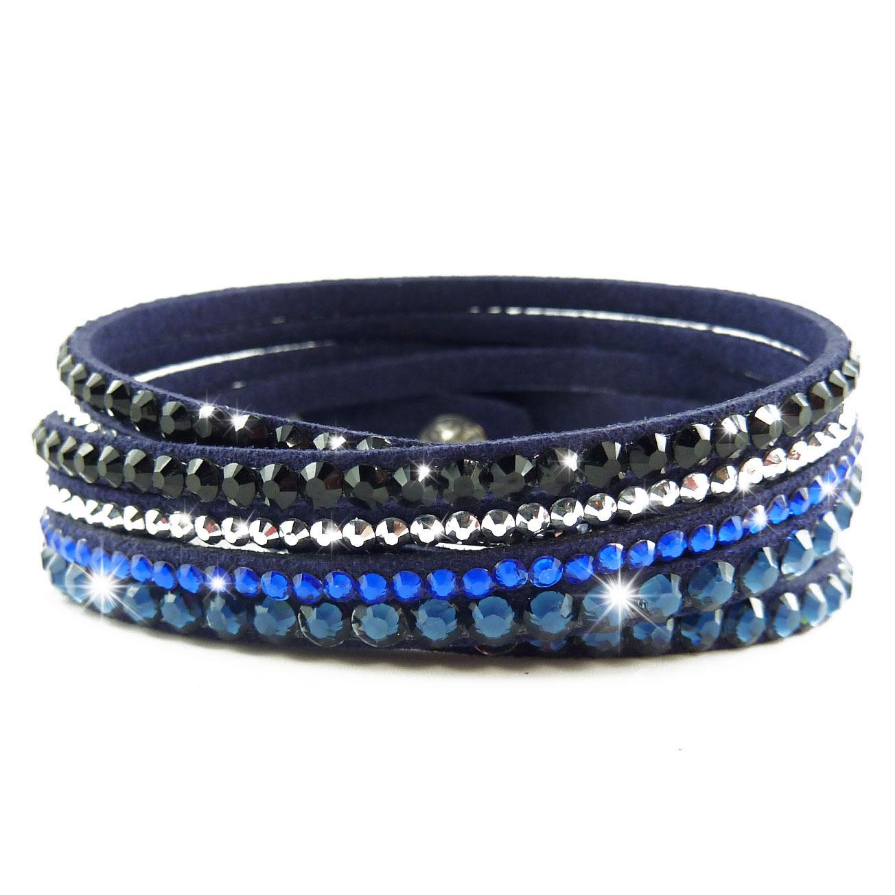 bracelet slake wrap strass multi tour cristal bleu dor cuir. Black Bedroom Furniture Sets. Home Design Ideas