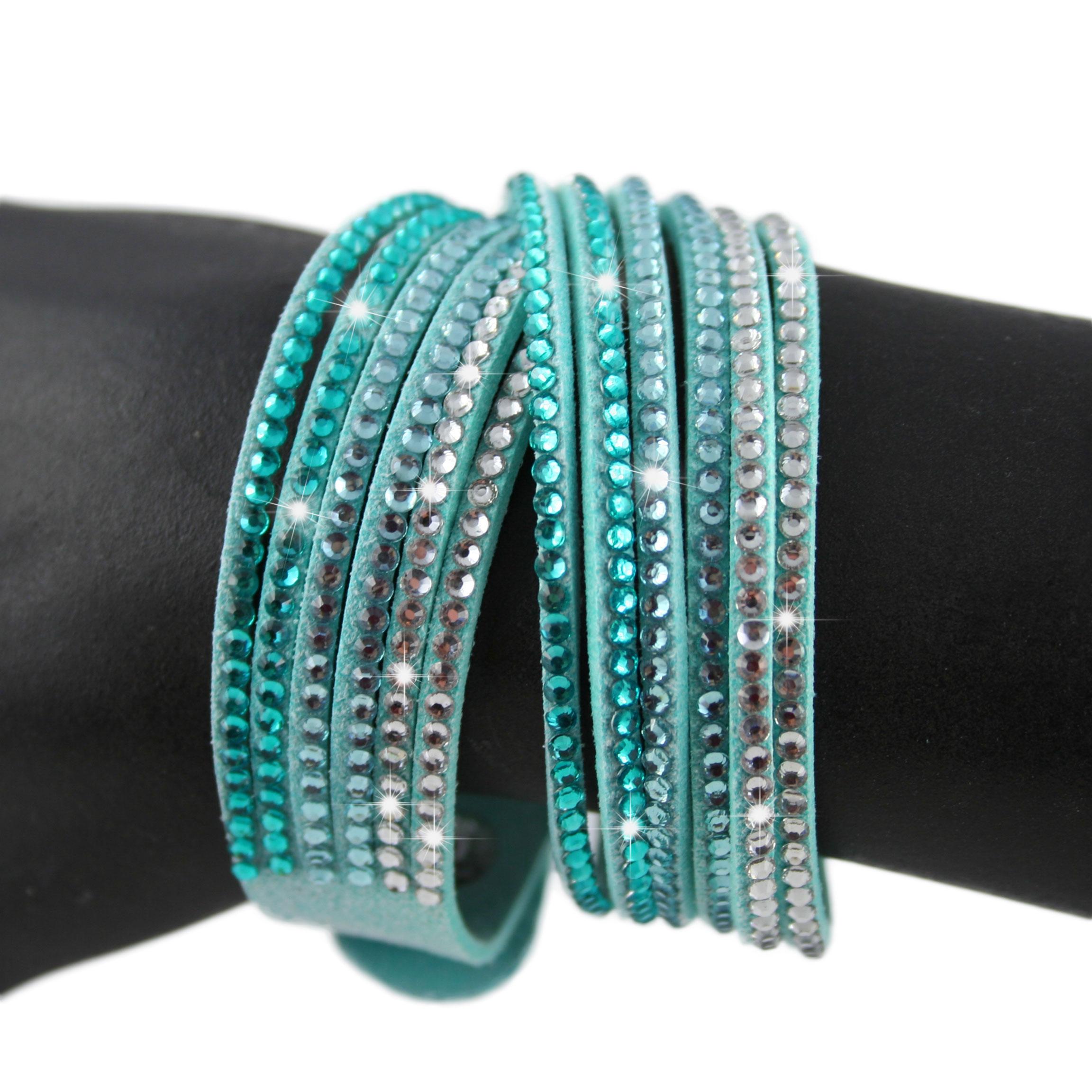 Bracelet wrap slake cristal double tours brillants en cuir for Bleu turquoise clair